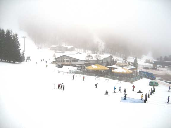 The Umbrella Bars at K1 light up the fog at Killington