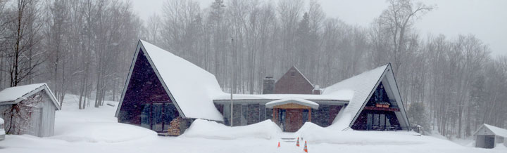 New snow covers the Birch Ridge Inn