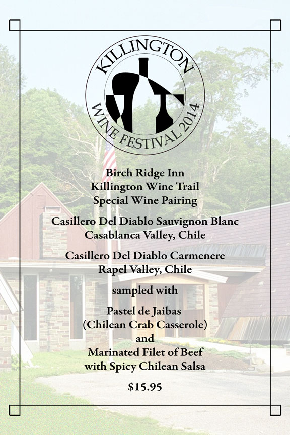 Birch Ridge Inn Killington Wine Trail Menu