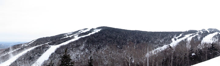 The Killington Resort from Killington Peak to Skye Peak dressed in winter white.