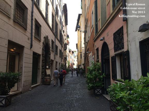 A typical roman cobblestone street