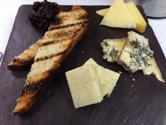 Vermont cheese plate with fig jam