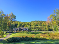 The clubhouse at Green Montain National Golf Course starting to show fall colors