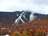 The perfect Vermont Fall Watercolor.Killington Peak last weekend with snow and fall colors.