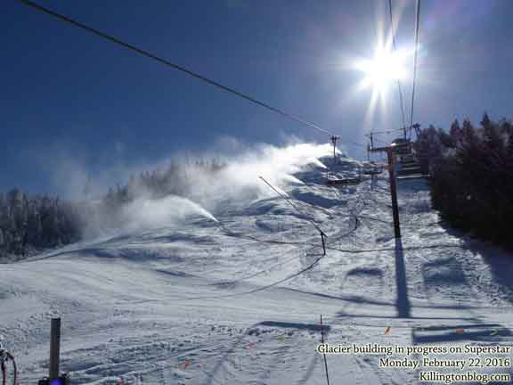 Blue skies, wide groomers, and snow making dominated Killington today.