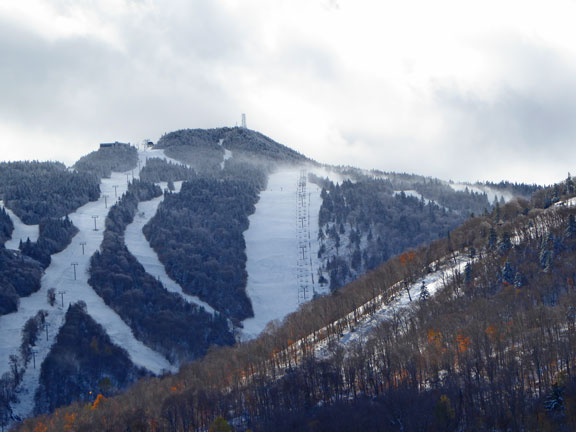 Killington Peak covered in snow, Sunday October 23, 2016