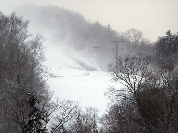 Snow making at the base of Mouse Trap on Snowden Mountain at Killington, Tuesday November 22, 2016