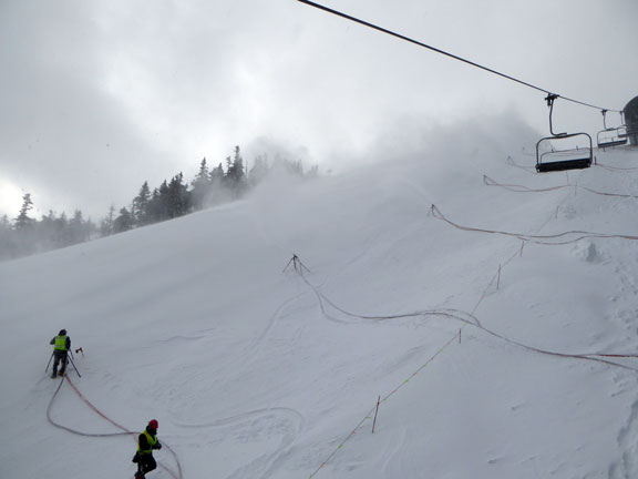 Snowmakers putting out the goods on Superstar Headwall