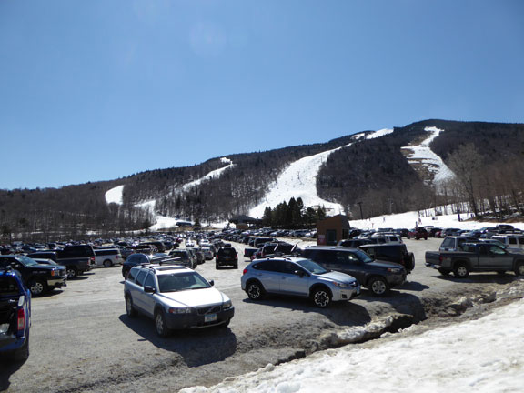 Full parking lot on great Easter Friday ski day at Killington.