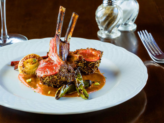 Herb crusted Rack of Lamb from the restaurant at the Birch Ridge Inn.