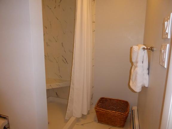 New shower seat and tile in rebuilt Room 2 bathroom