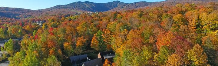 Aerial view of the Birch Ridge Inn taken by Steve Kent of Killington's Outside TV.  Taken October 12, 2017