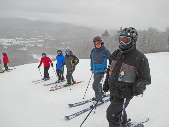 Skiing at Killington was great on Monday.  Mary, Richard, Froggy. Peter, and Howie line up to begn a run.
