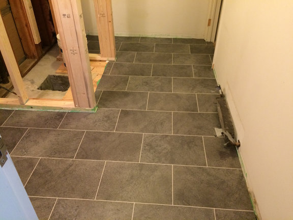New floor going down in Owners Quarters bathroom