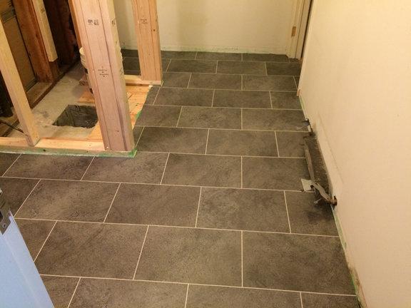 New floor going down in Owners Quarters bathroom