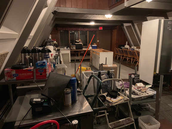 The contents of the inn's kitchen emptied into the restaurants dining room