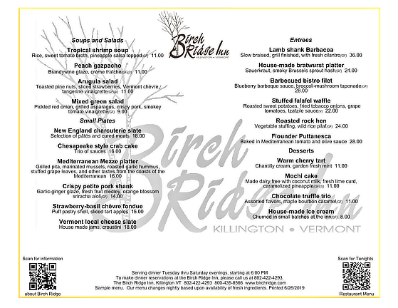 Opening menu for the 21st dinner season at the Birch Ridge Inn, Killington.