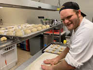 Chef Justin making dinner rolls for the start of the 21st season serving dinner at the Birch Ridge Inn