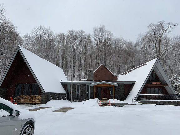 Birch Ridge Inn covered with newly fallen snow.
