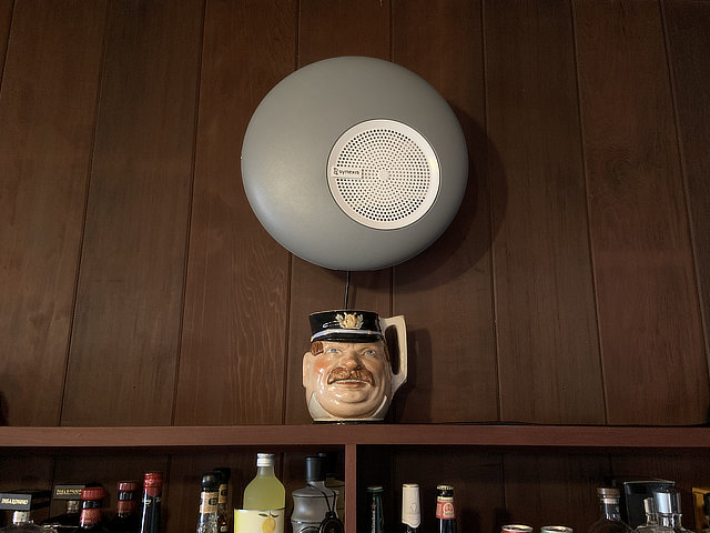 A Synexis Sphere installed over the bar in the Great Room